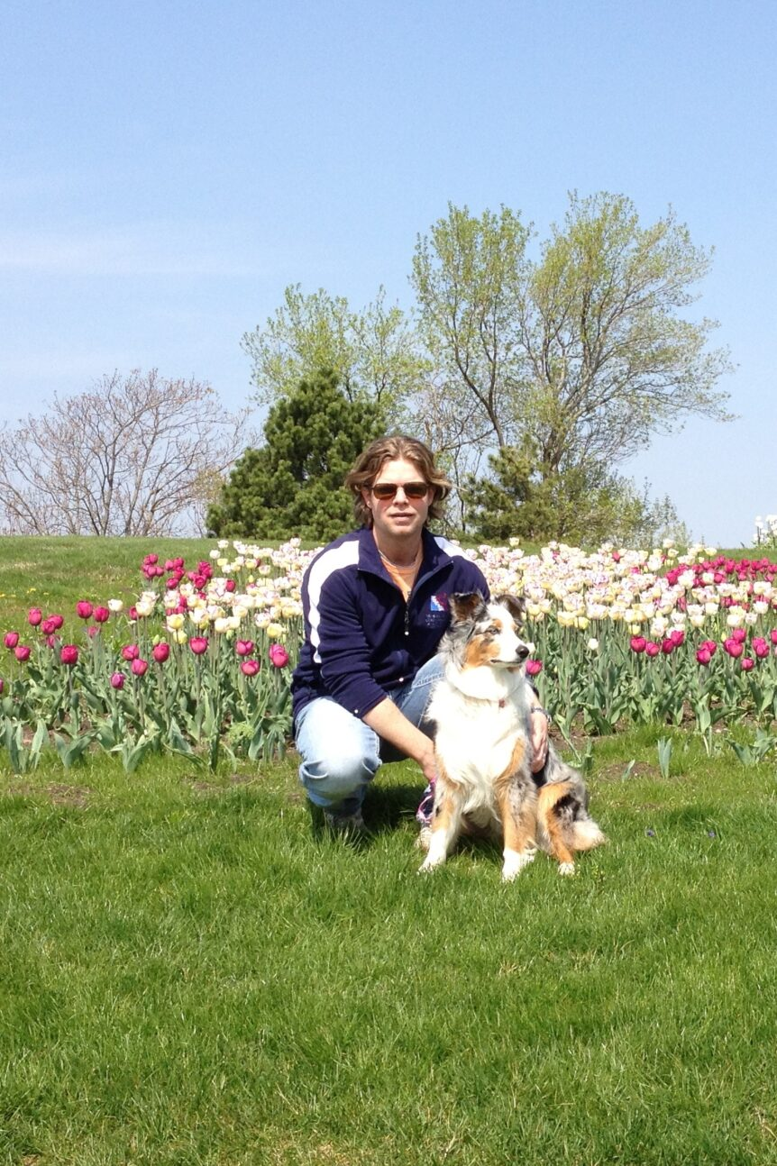 Tom & Bear at Tulip Time